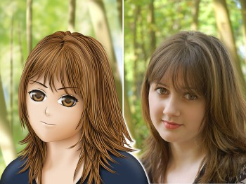comparaison visage manga et photo