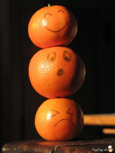 empilement de mandarines avec smiley