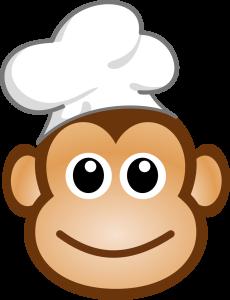 logo cuisine amusante singe chef aux yeux kawaii