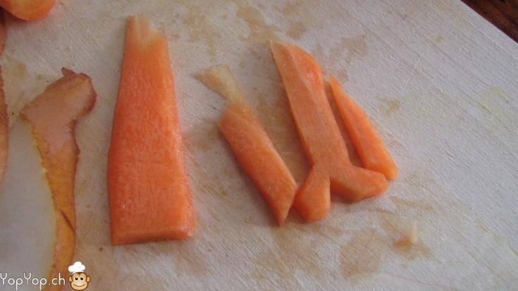 sculpture de patte de poule en carotte