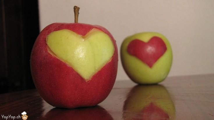 coeur en pomme rouge et verte une idée pour la Saint-Valentin