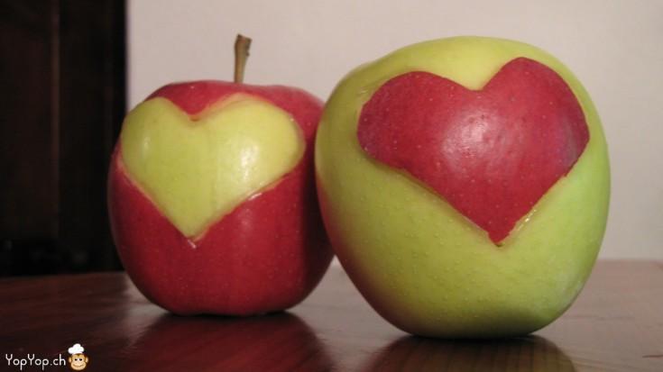 coeur en pomme rouge et verte.Une idée de recette pour la saint-valentin