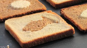 forme de poisson dans du pain toast