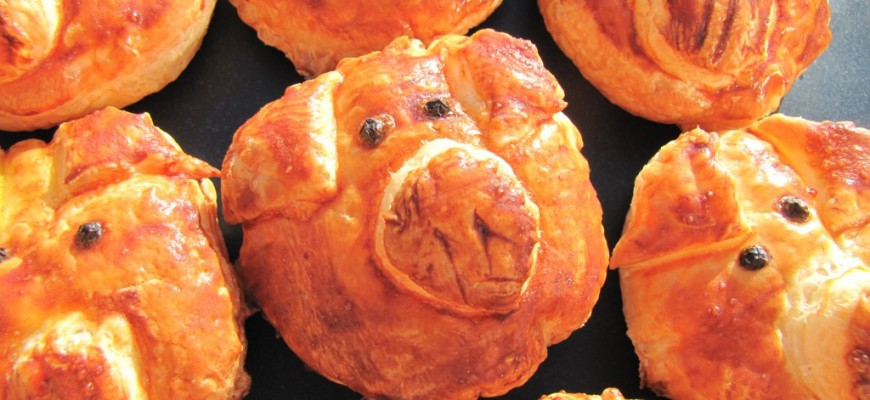 recette de feuilleté oiriginale pour l'apéro en forme de cochons