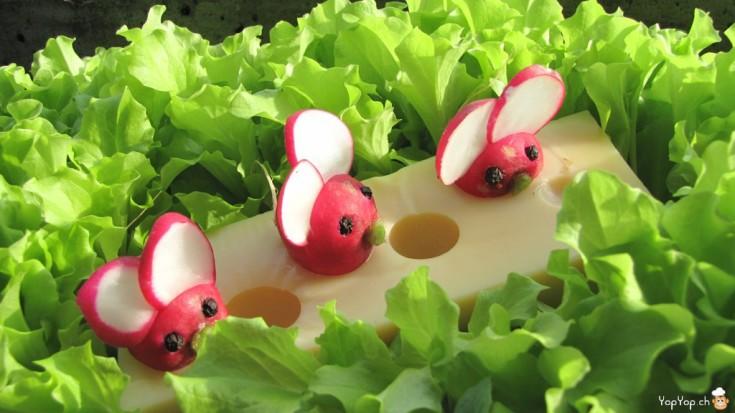 radis souris sur un fromage