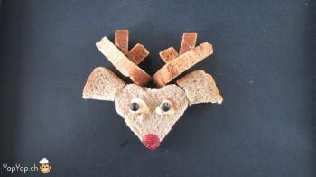 manger du renne: 16-marche à suivre renne rudolf en pain toast