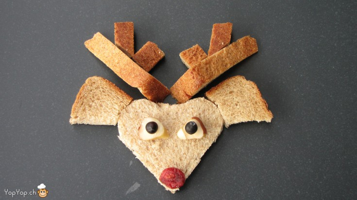 manger du renne rudolf le renne en pain toast