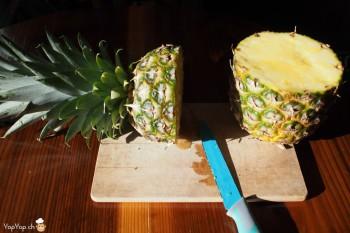 1-dessert ananas découper l'ananas en deux