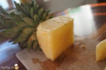 2-dessert ananas découper un cube