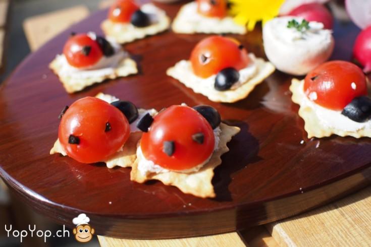 amuse bouche original coccinelle en tomate et olive