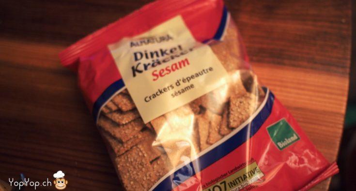 crackers epeautre et sesame industriel. Dinkel kräkers