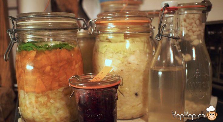 bocaux lacto-fermentation carotte betterave choucroute kefir