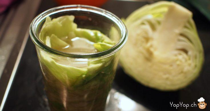 chou coupé en deux lacto-fermentation